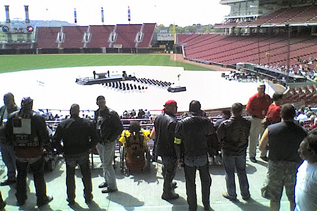 Riders come into the stadium to pay their respects but must be out before the service or they won't be able to get back to their bikes.