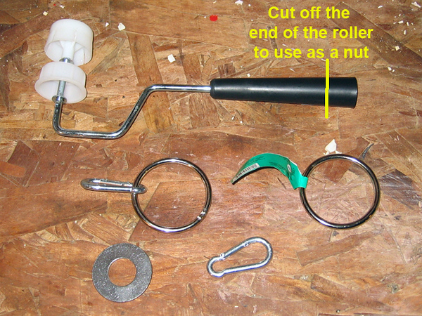 "Here's the parts you need to make the paint roller extension a flagpole. <br /> <br /> A )  Wooster Sherlock pole  (1)  $31.98 each<br /> <br /> B ) 2""  welded rings  (3) pcs   $0.71  each<br /> <br /> C ) 1 1/2"" welded ring (1) pc   $0.58  each<br /> <br /> D ) 1/4"" spring snap clips (5)  $2.07 each<br /> <br /> E ) a cheap paint roller ( used one)<br /> <br /> F ) 3/4"" stainless flat washer (1)  $1.00 each<br /> <br /> Note:  I'm adding 3 extra grommets to mt flag for support and that's why so many rings and snaps."