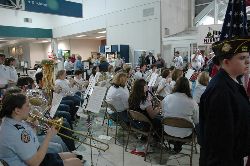 The Tecumseh High School Band played a selection of songs from WWII years.