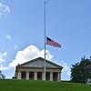 American Flag at half mast at Arlington National Cemetery