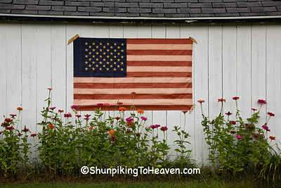 Primitive American Flag on Outbuilding, Vernon County, Wisconsin