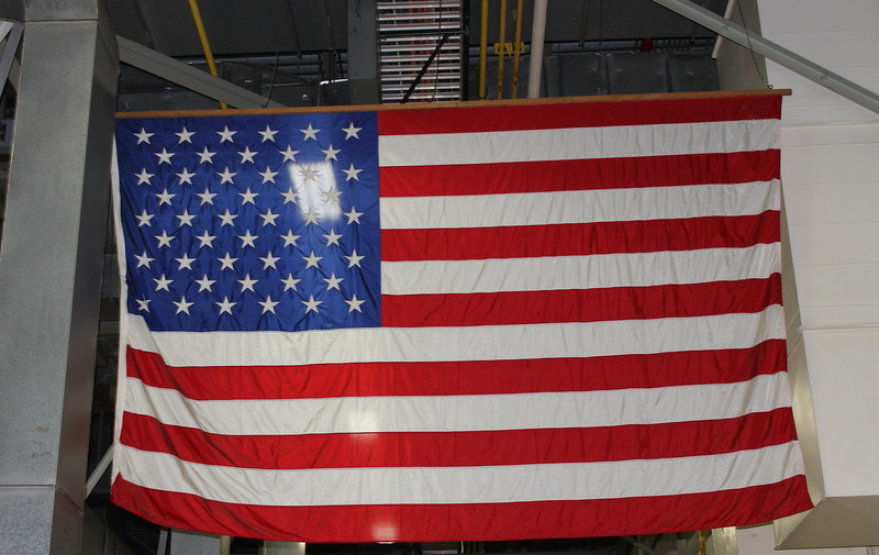 Flag above the Factory Floor