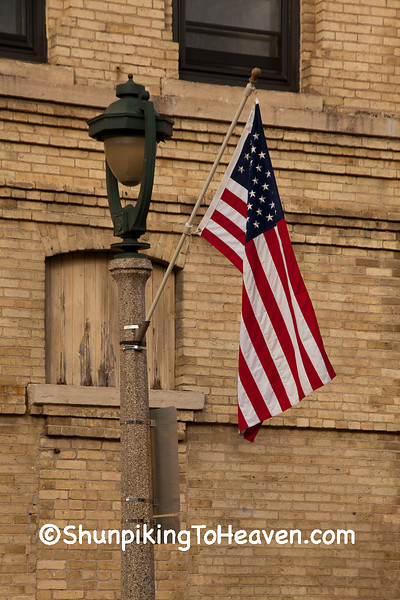 U.S. Flag on Lamp Post, Columbia County, Wisconsin