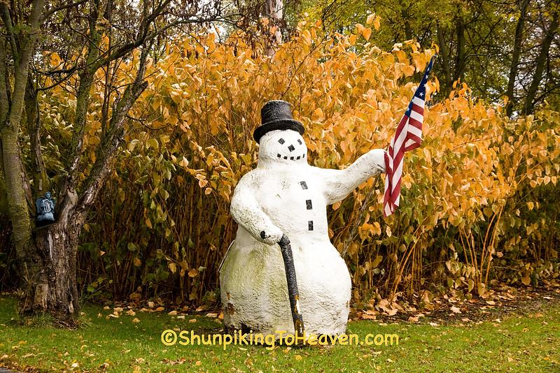 Patriotic Snowman in Autumn, Kewaunee County, Wisconsin