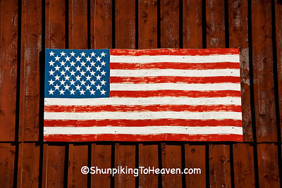 American Flag on Red Barn, Sheboygan County, Wisconsin