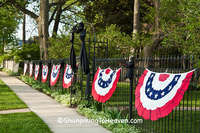 Fence Draped for Lincoln Funeral Reenactment, Springfield, Illinois