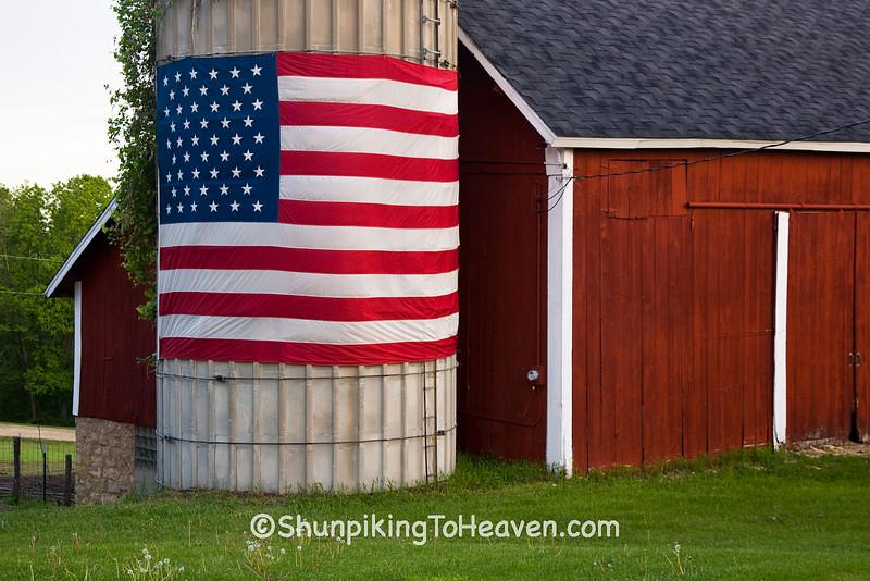 Patriotic Farm Scene, Iowa County, Wisconsin