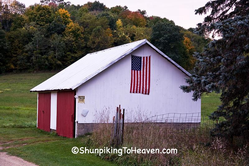 American Flag on Garage, Vernon County, Wisconsin