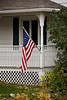 American Flag on Old-Fashioned Porch, Brown County, Wisconsin