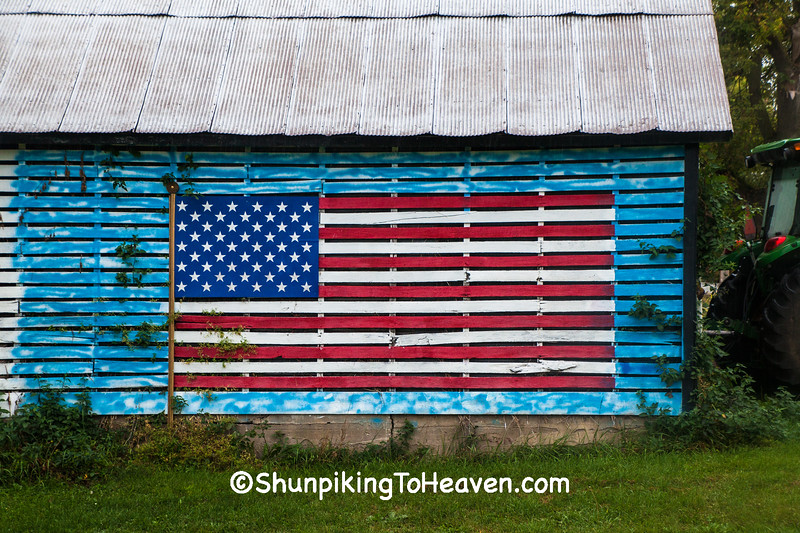 Patriotic Corn Crib, Richland County, Wisconsin
