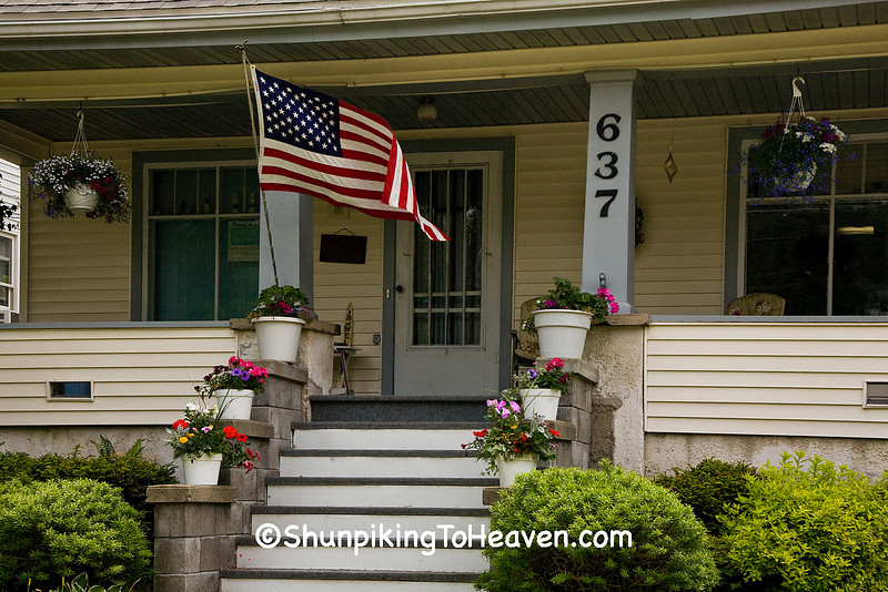 Patriotic Porch Scene with American Flag, Lafayette County, Wisconsin