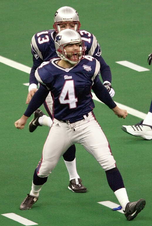 . New England Patriots kicker Adam Vinatieri screams after booting a48-yard  field goal in the finals seconds to give the Patriots a 20-17 victory over the St. Louis Rams in Super Bowl XXXVI, Sunday, Feb. 3, 2002, in New Orleans. (AP Photo/Andrew Cohoon)