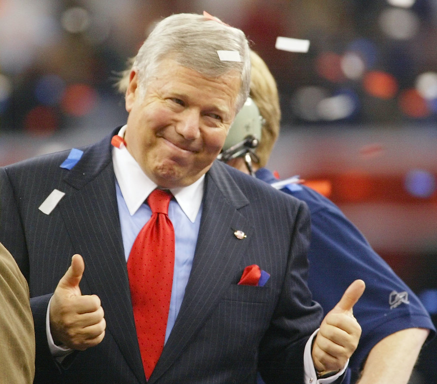 . New England Patriots\' owner Robert Kraft celebrates after the Patriots beat the St. Louis Rams 20-17  in Super Bowl XXXVI at the Louisiana Superdome, Sunday, Feb. 3, 2002, in New Orleans.. (AP Photo/Doug Mills)