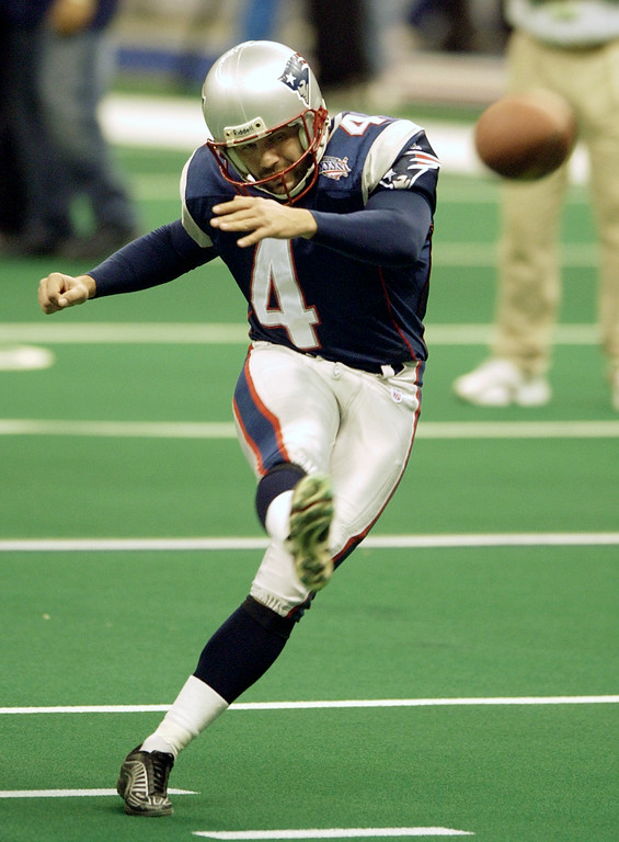 . New England Patriots kicker Adam Vinatieri practices before Super Bowl XXXVI, Sunday, Feb. 3, 2002, in New Orleans. (AP Photo/Kathy Willens)