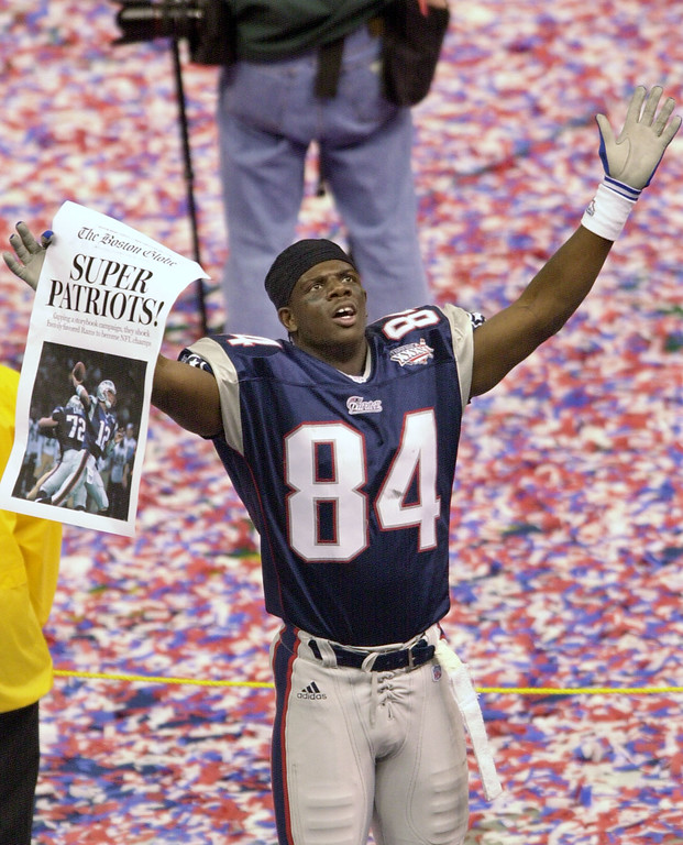 . New England Patriots Fred Coleman celebrates the Patriots 20-17 Super Bowl win over the St. Louis Rams Sunday, Feb. 3, 2002, in New Orleans. (AP Photo/Andrew Cohoon)
