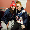 Jacee Bennett and Sara Desmond join local Pats fans aboard the early train from the new Wachusett Station into North Station for the Patriots Super Bowl parade on Tuesday, February 7, 2017. SENTINEL & ENTERPRISE / Ashley Green