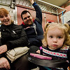 Alexis, 2, who has seen two Super Bowl victories in her short lifetime, hangs out with parents Janelle and Shawn as local Pats fans board the early train from the new Wachusett Station into North Station for the Patriots Super Bowl parade on Tuesday, February 7, 2017. SENTINEL & ENTERPRISE / Ashley Green