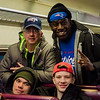 Joseph Thompson, Parker Vandersteen, John Thompson and Harry Williams, of Gardner, board the early train from the new Wachusett Station into North Station for the Patriots Super Bowl parade on Tuesday, February 7, 2017. SENTINEL & ENTERPRISE / Ashley Green