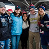 Fitchburg State students Ivy Benoit, Emma Foley, Jackie Bui, Nick McNeely and Gabby Doody arrive at North Station for the Patriots Super Bowl parade on Tuesday, February 7, 2017. SENTINEL & ENTERPRISE / Ashley Green