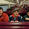 Fitchburg State students Allen Buckley, Cam Conley and Jake Dedian cheer along with other local fans aboard the early train from the new Wachusett Station into North Station for the Patriots Super Bowl parade on Tuesday, February 7, 2017. SENTINEL & ENTERPRISE / Ashley Green