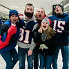 Stevie Schaeffer, Fred Reynolds, Alyis Woodward, Patrick O'Nanno and Brianna Hamel, all of Lunenburg,  arrive at North Station for the Patriots Super Bowl parade on Tuesday, February 7, 2017. SENTINEL & ENTERPRISE / Ashley Green