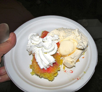 Pineapple upside down cake, ice cream and whipped cream!