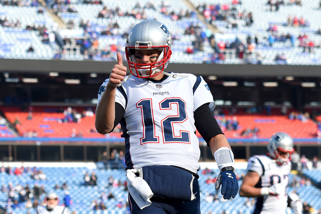 . New England Patriots quarterback Tom Brady (12) gestures prior to an NFL football game against the Buffalo Bills, Sunday, Dec. 3, 2017, in Orchard Park, N.Y. (AP Photo/Rich Barnes)