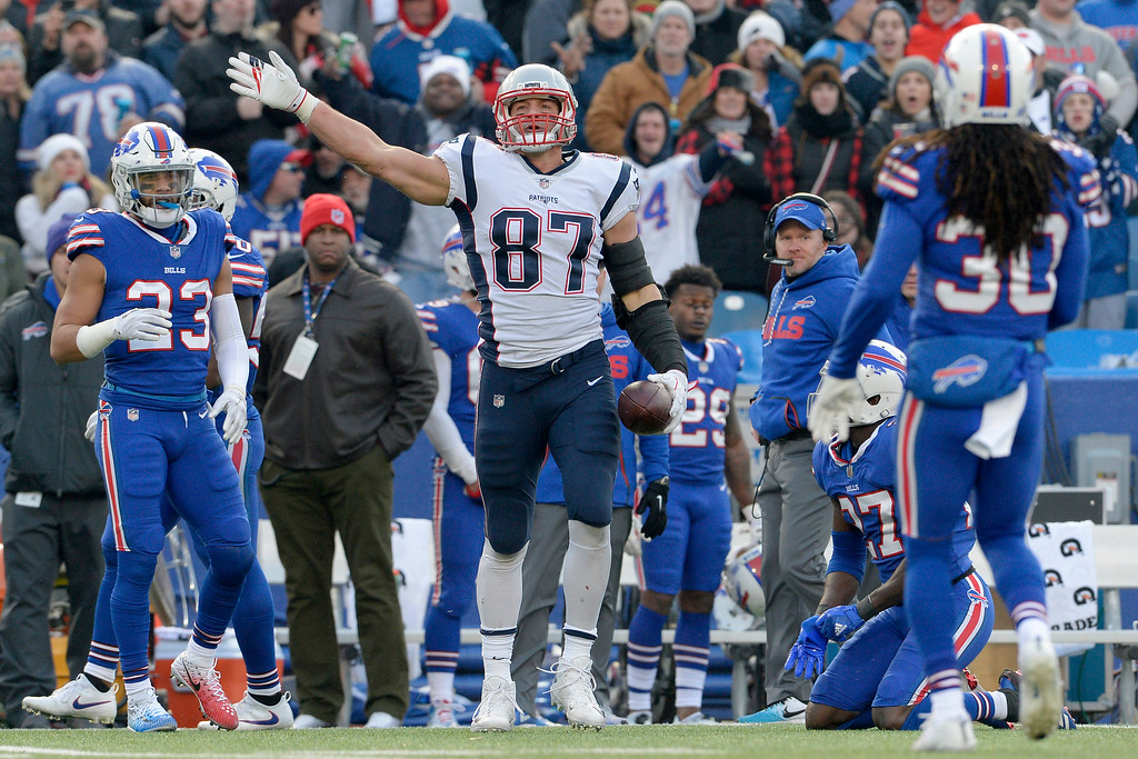 . New England Patriots tight end Rob Gronkowski (87) gestures after making a catch against the Buffalo Bills during the second half of an NFL football game, Sunday, Dec. 3, 2017, in Orchard Park, N.Y. (AP Photo/Adrian Kraus)