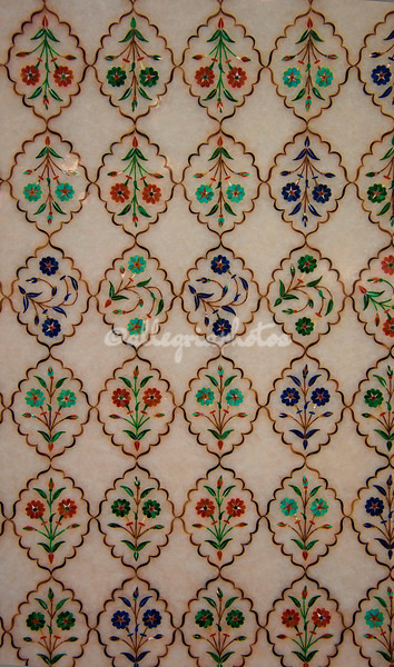 Mosaic of semi-precious stones including malachite and lapis lazuli, made in Agra, India, based on ancient patterns found on the Taj Mahal.