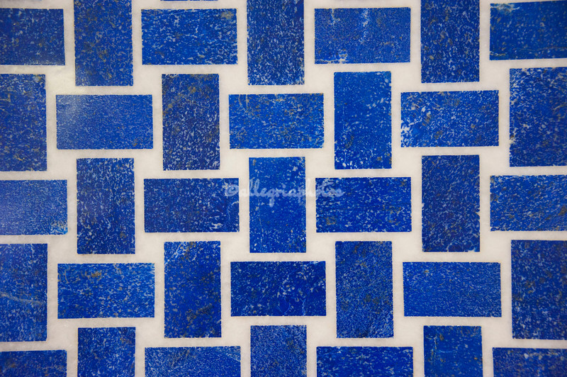 Mosaic of  lapis lazuli, made in Agra, India, based on ancient patterns found on the Taj Mahal.