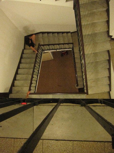 65 steps to our room in the A do Mori hotel in Venice, Italy