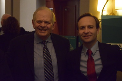 Michigan Lieutenant Governor Brian Calley (right) at Oakland County Executive L. Brooks Patterson's 2017 State of the County Address in Pontiac on Wednesday, Feb. 8, 2017. (Mark Cavitt/The Oakland Press)