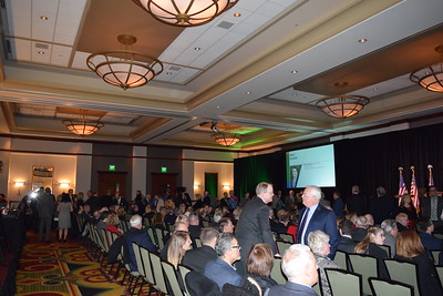 People gather at Oakland County Executive L. Brooks Patterson's 2017 State of the County Address in Pontiac on Wednesday, Feb. 8, 2017. (Mark Cavitt/The Oakland Press)