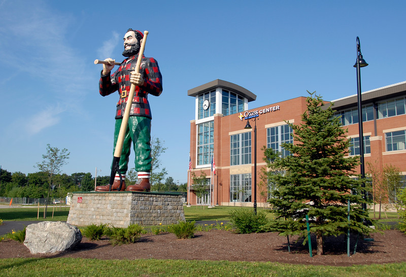 Paul Bunyan statue and landscape outside Cross Insurance Center