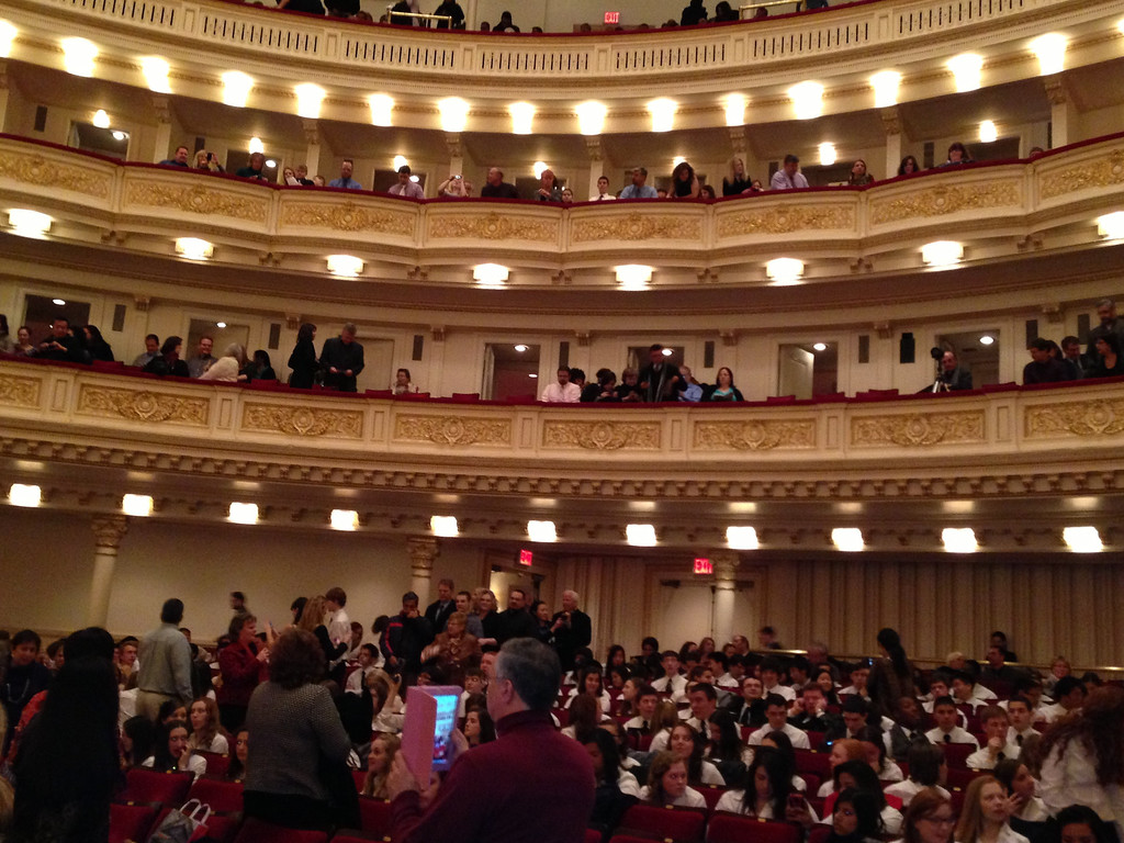 Audience at Carnegie to view the 3 performances: Choir, Band and Ochestra