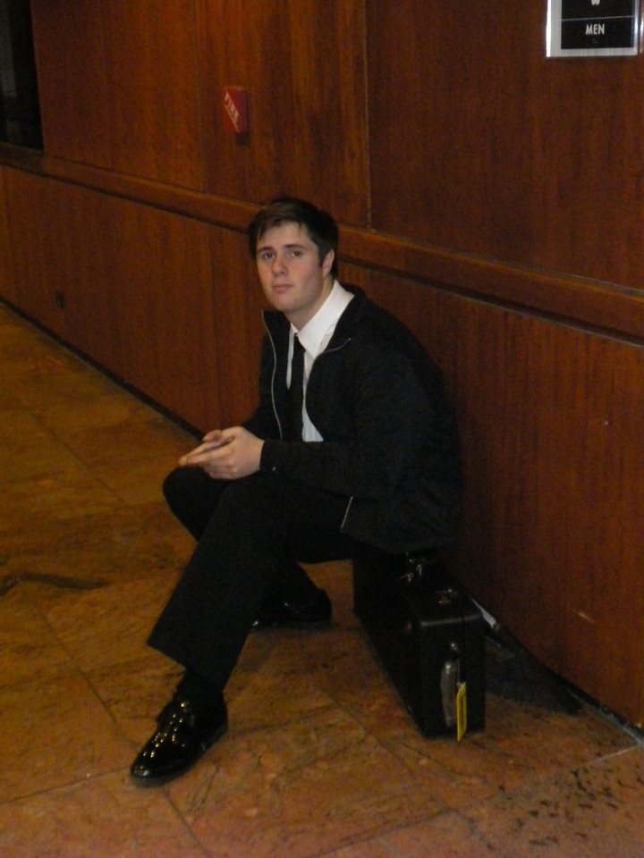 Waiting at Carnegie for his band performance