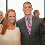 Julie Howell of the Louisville Sports Commission and this year\'s Hornung Award Winner Christian McCaffrey of Stanford University.