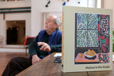 Paul Matisse at his Kalliroscope Gallery in Groton talks about his family and their art. In the foreground is a book of his grandfathers art that will be on display at the Museum of Fine Arts in early April. SUN/JOHN LOVE