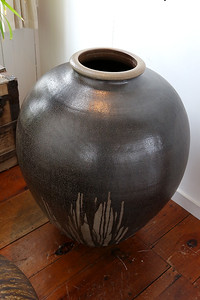 This clay pot at the Kalliroscope Gallery in Groton was made by Paul Matisse's son Alex. SUN/JOHN LOVE
