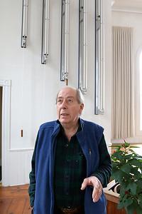 Paul Matisse talks his and his families art at his Kalliroscope Gallery in Groton on Tuesday morning. SUN/JOHN LOVE
