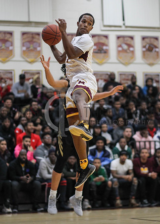January 4, 2019: McNamara guard Johnathan McGriff (1) grabs a rebound during HS Boys Basketball action between Paul VI HS and McNamara HS in Forestville. Photo by: Chris Thompkins/Prince George's Sentinel