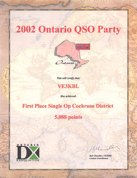 2002 Ontario QSO Party First Place Single Operator in Cochrane District for Paul Lantz. Pretty sure I was the only operator in the District.