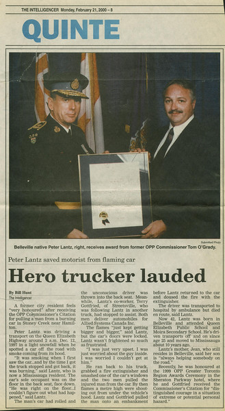 Hero trucker lauded. Peter Lantz saved motorist from flaming car. Intelligencer 2000 February 21