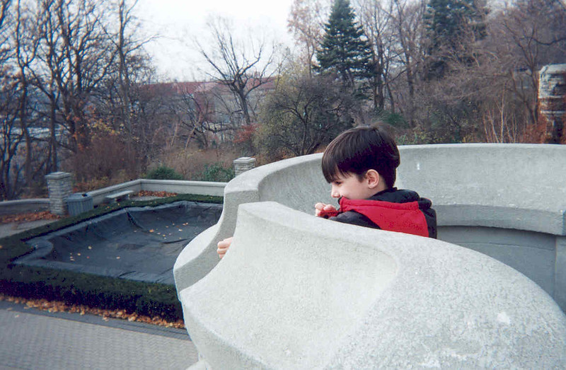 David  on the parapet at Casa Loma 1999 November 19th.