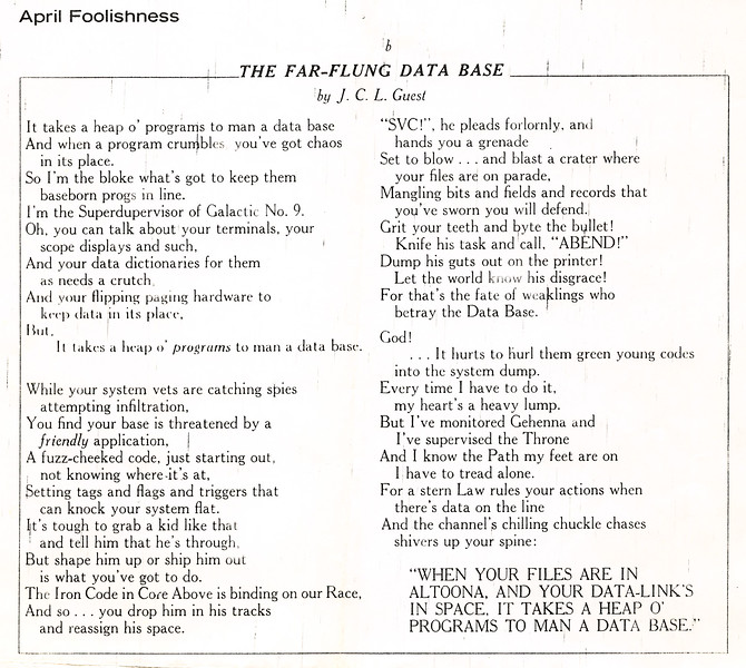 The Far Flung Data Base by J.C.L. Guest poem from Datamation