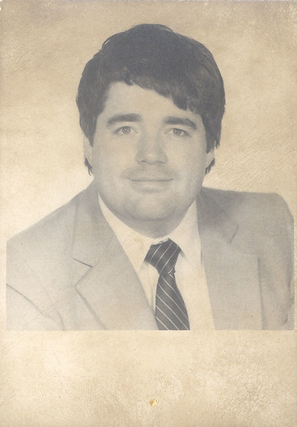 Retouched:  Paul Lantz passport type photo taken 1980 August 28th in Toronto