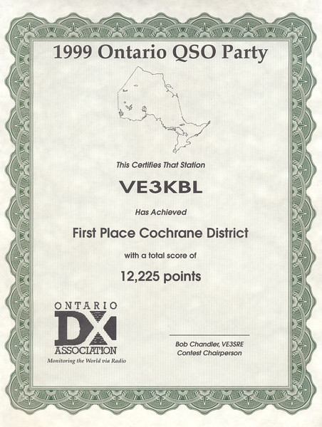 1999 Ontario QSO Party First Place Cochrane District VE3KBL 12,225 points. Green ehhanced.