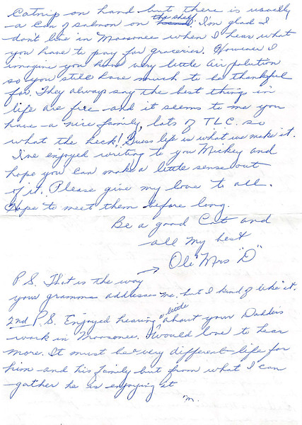 """1984 March 7 letter from Mrs. J. D. Deyell to Michael """"Mickey"""" Lantz"""