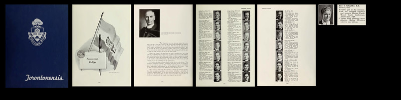 Excerpt from University of Toronto Yearbook Torontonensis 1943 including Emmanuel College (United Church theology) and graduate Amy E. Schauffler. <br /> Woman's gift to the ministry. Work has included northern and western Mission Fields, World Youth Conference, Amsterdam, 1939.<br /> Is never done planning more<br /> effective Home Mission<br /> whereto she will go.
