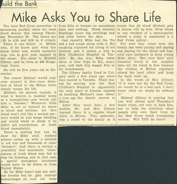"""""""Build the Bank"""".  Article about Michael Gibney at age 4. Likely published November 1956. Encouraging support for Milton blood donor clinic."""